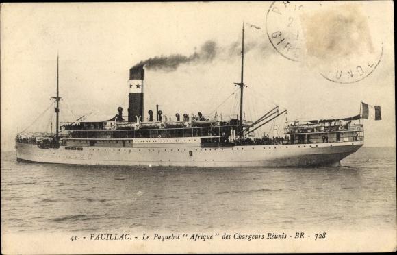 Ak Pauillac Gironde, Dampfer Afrique, Compagnie des Chargeurs Reunis 0