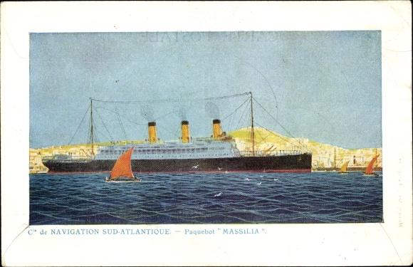Künstler Ak Paquebot Massilia, Compagnie de Navigation Sud-Atlantique 0