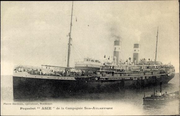 Ak Paquebot Asie, Compagnie de Navigation Sud-Atlantique, Dampfschiff 0