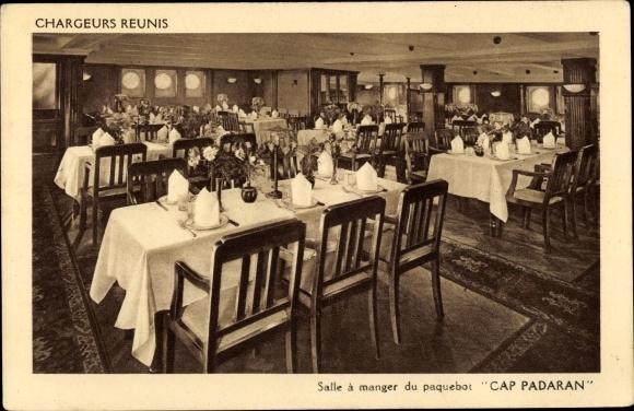 Ak Paquebot Cap Padaran, Compagnie des Chargeurs Reunis, Salle a manger, Dampfer 0