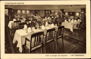 Ak Paquebot Cap Padaran, Compagnie des Chargeurs Reunis, Salle a manger, Dampfer
