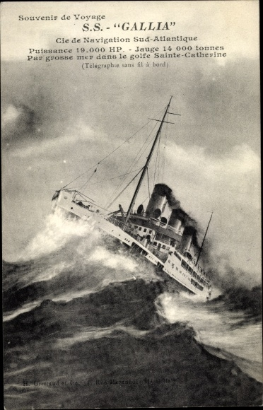 Ak Paquebot SS Gallia, Dampfschiff, Cie de Navigation Sud Atlantique 0