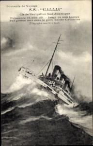 Ak Paquebot SS Gallia, Dampfschiff, Cie de Navigation Sud Atlantique