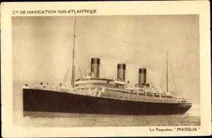 Ak Paquebot Massilia, Compagnie de Navigation Sud-Atlantique