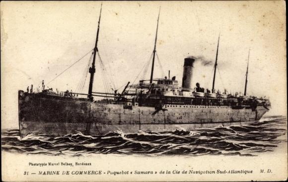 Ak Paquebot Samara, Compagnie de Navigation Sud-Atlantique 0