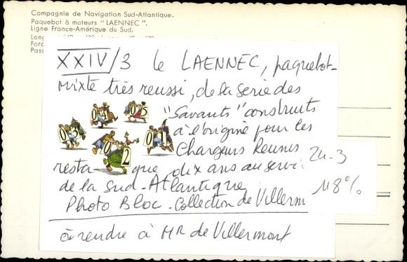 Ak Dampfer Laennec der Compagnie de Navigation Sud Atlantique 1