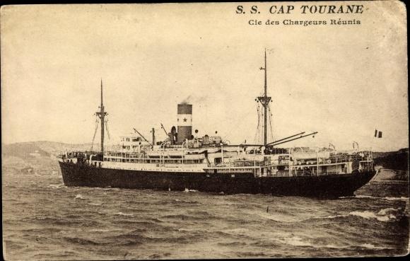 Ak Dampfer SS Cap Tourane, Chargeurs Reunis 0