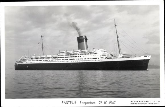 Ak Paquebot Pasteur, Dampfschiff, Compagnie de Navigation Sud-Atlantique, 1947 0