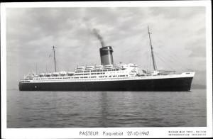 Ak Paquebot Pasteur, Dampfschiff, Compagnie de Navigation Sud-Atlantique, 1947