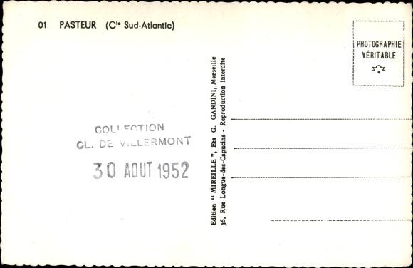 Ak Paquebot Pasteur, Dampfschiff, Compagnie de Navigation Sud-Atlantique 1
