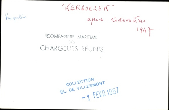 Foto Ak Paquebot Kerguelen, Dampfschiff, Compagnie des Chargeurs Reunis 1