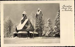 Ak Brückenberg bei Krummhübel Riesengebirge Schlesien, Winterpartie, Kirche Wang