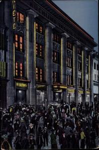 Künstler Ak Basel Stadt Schweiz, Küchlin's Variete Theater, Nachtaufn. nach Schluss der Vorstellung