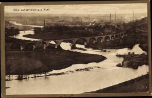 Passepartout Ak Witten an der Ruhr, Flusspartie, Brücke