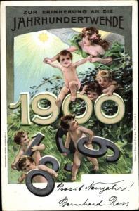 Ganzsachen Litho Glückwunsch Neujahr, Jahreszahl 1900, Jahrhundertwende, PP 8 C 4