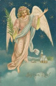 Präge Litho Glückwunsch Weihnachten, Engel mit Palmzweig