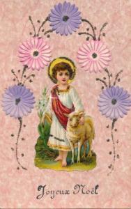 Glitzer Ak Glückwunsch Weihnachten, Christus mit Lamm, Heiligenschein