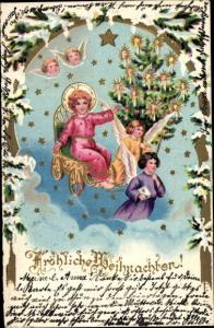 Präge Passepartout Ak Frohe Weihnachten, Engel am Weihnachtsbaum