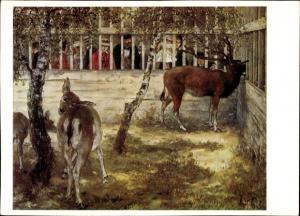 Künstler Ak Menzel, Adolph von, Hirsche im Zoo, Nationalgalerie Berlin