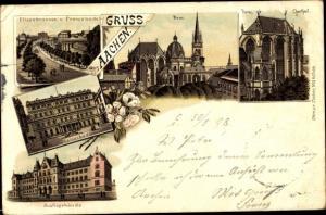 Litho Aachen in Nordrhein Westfalen, Elisenbrunnen, Promenade, Dom, Chorteil, Kaiserbad