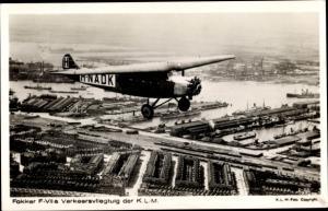 Ak Fokker F-VII a Verkehrsflugzeug der KLM, H-NADK, Fliegeraufnahme