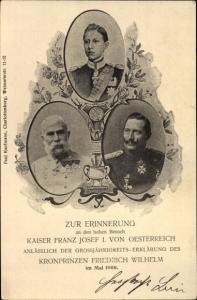 Ak Kaiser Wilhelm II., Kaiser Franz Joseph I., Kronprinz Wilhelm von Preußen, PP 19 C 47 02