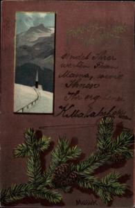 Künstler Ak Mailick, Frohe Weihnachten, Tannenzweig, Winterszene