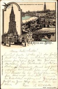 Litho Bern Schweiz, Kirche, Brücke, Teilansicht