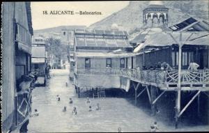 Ak Alicante Valencia Spanien, Balnearios, Schwimmen