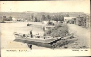 Ak Vermenton Yonne, Le Port, Hafenpartie, Ruderboot