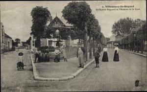 Ak Villeneuve la Guyard Yonne, Le Square Regnoul et Avenue de la Gare