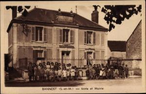 Ak Bannost Seine et Marne, Ecole, Mairie