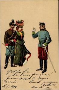 Ak Offizier in Dienstanzug aus höherem Stab grüßt Offizier mit Dame am Arm