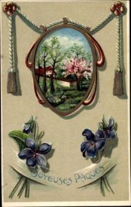 Präge Passepartout Ak Glückwunsch Ostern, Veilchen, Baumblüte