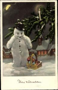Mondschein Ak Frohe Weihnachten, Schneemann, Tannenbaum, Kerze, Geschenkekorb