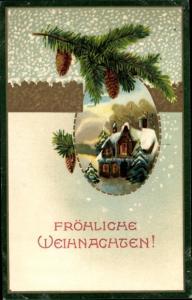 Präge Passepartout Ak Frohe Weihnachten, Tannenzweig, Tannenzapfen, Haus im Schnee