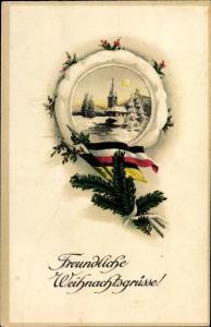 Ak Frohe Weihnachten, Tannenzweig mit Kaiserreichsflagge, Schneelandschaft mit Kirche