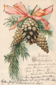 Präge Ak Frohe Weihnachten, Tannenzweig mit Tannenzapfen und Schleife