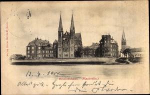 Ak Steyl Venlo Niederlande, Missionshaus, Maasseite