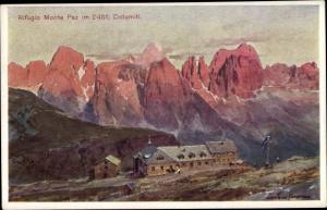 Künstler Ak Dolomiten Südtirol, Rifugio Monte Pez