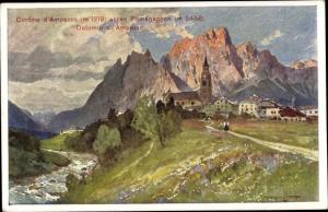 Künstler Ak Cortina d'Ampezzo Veneto, veduta generale verso Pomagagnon, Dolomiti di Ampezzo