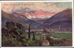 Künstler Ak Bozen Bolzano Südtirol, veduta generale, col Catinaccio, Dolomiti