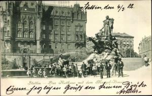 Ak Szczecin Stettin Pommern Rathaus mit dem Manzel Brunnen