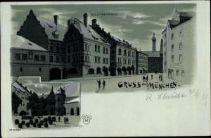 Mondschein Litho München Bayern, Königliches Hofbräuhaus, Innenhof