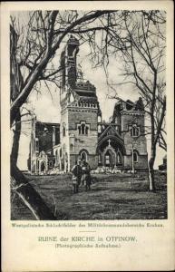 Ak Otfinów Żabno Tarnów Polen, zerstörte Kirche, Soldaten, Militärkommandoberreich Krakau