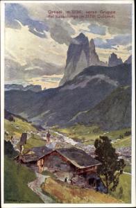Künstler Ak Ortisei Südtirol, veduta verso Gruppo del Sassolungo, Dolomiti