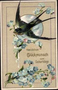 Präge Ak Glückwunsch Geburtstag, Schwalbe, Vergissmeinnicht