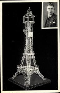 Ak Eiffelturm Strohuhr, Erbauer Karl Klapproth, Goslar, Portrait