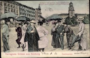 Ak Salzburg Österreich, Residenzplatz, Regen