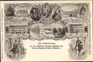 Litho Husaren Regiment König Wilhelm I., 50. Garnisons Jubiläum, Kasernen, Kaiser Wilhelm II.